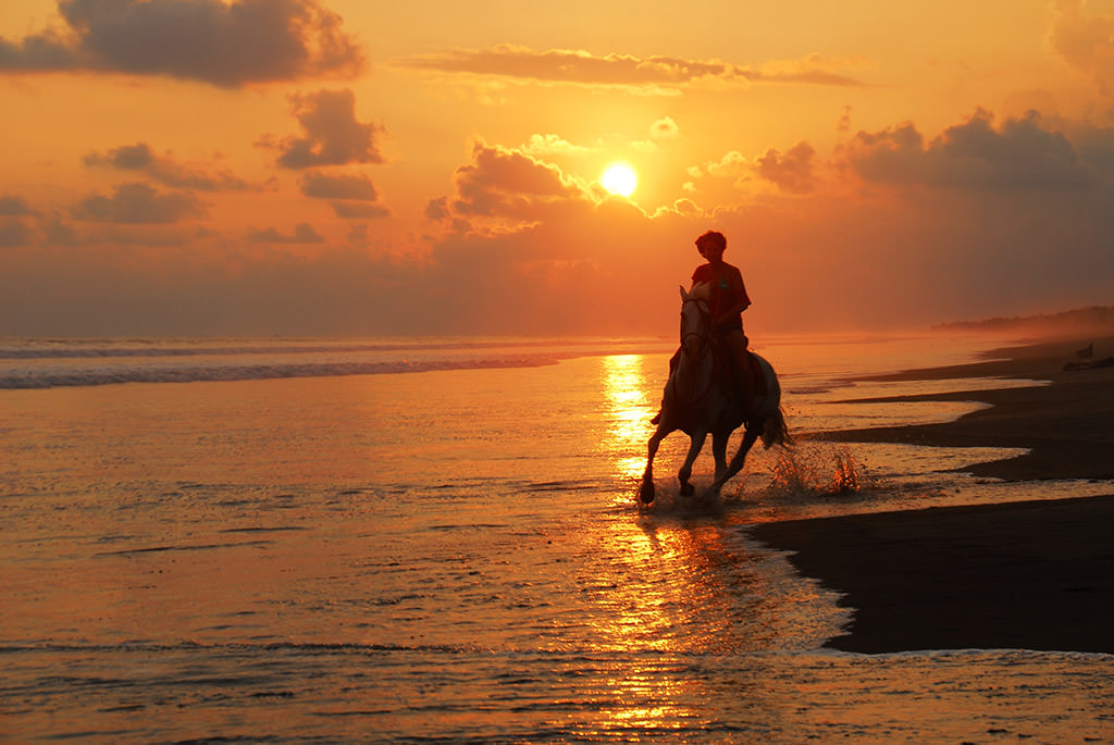 Costa Rica Horseback Riding classic sunset
